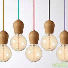 Colorful Hanging wire E27 Wood Lamp holder Pendant lamp DIY lamps Ceiling Light