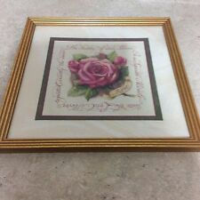 """HOME INTERIOR / HOMCO PICTURE """"ROSE"""" 13 1/2"""" X 13 1/2"""" GOLD FRAME"""
