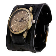 Cool Retro Punk Rock Mens Watches Brown Wide Leather Bracelet Wrist Watch Cuff