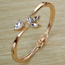 Rose Gold Hollow Flower Rhinestone Pretty Bracelet Bangle