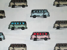 RETRO VW BUS MICRO PASTELS WHITE COTTON FABRIC BTHY