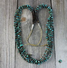 Vintage Navajo Four Strand Green Turquoise Nugget Bead Pen Shell Heishi Necklace