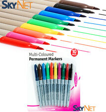 10 x BRANDED PERMANENT MARKER PENS~ASSORTED COLOURS~FINE POINT TIP