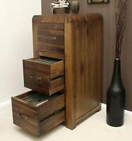 Shiro solid walnut dark wood office furniture three drawer filing cabinet