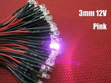 10pcs, 3mm Pink 9V 12V DC Round Pre-Wired Water Clear LED Leds Light 20CM New