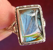 Vintage Thomas L Mott (T.L.M) butterfly Wings Adjustable Sterling Silver Ring