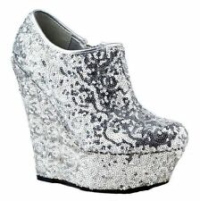 ladies Silver glitter high heel wedge platform party prom shoes uk size 5 Eu 38