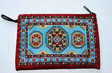 Indian Ethnic Coin Purse with Zip, Fabric, Gold thread, Blue/Red Kilim, Rug