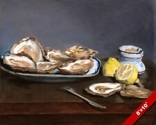 OYSTERS & LEMON DINNER MANET FRENCH PAINTING ART REAL CANVAS GICLEE PRINT