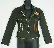 MOSCHINO OLIVE GREEN EMBROIDERED 3 BUTTON JACKET USA SZ 8 MADE IN ITALY