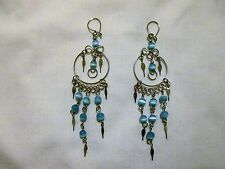 Silvertone Dangling Blue/White Beads w Spears Pierced Earrings