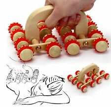 16 Rolling Wooden Back Roller Wood Wheel Body Massager Reflexology Stress Blue