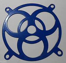 "NEW LOT OF (2) 80mm STEEL LASER CUT FAN GRILL GUARD ""BLUE BIOHAZARD"""