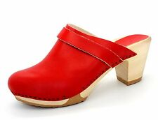 Bosabo Kety Womens UK 6 EU 39 Red Leather Clogs with Wooden Sole (New in Box)