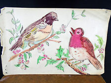 Lovely Watercolor Painting Red Birds on Holly Bush 1940's Original