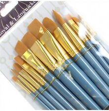 Royal Set of 12 Large Gold Artists Brushes. For Watercolour & Acrylic Painting.