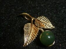 14K SOLID YELLOW GOLD NEPHRITE JADE PENDANT
