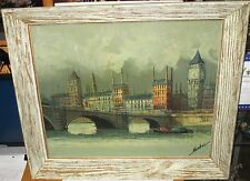 NANDINI BIG BEN CITY OF LONDON OLD ORIGINAL OIL ON CANVAS CITYSCAPE PAINTING