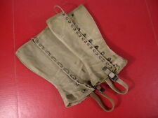 WWII Era US Army M1938 Dismounted OD Canvas Leggins Size 3 - Nice Condition