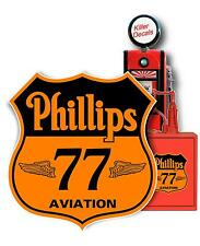 """6"""" PHILLIPS 77 AVIATION GASOLINE DECAL CAN / GAS PUMP / LUBESTER"""