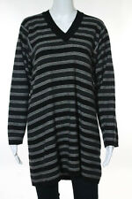 Jean Muir Gray Black Ivory Striped Wool V-Neck Sweater Size Extra Large