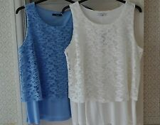 Two Pretty Lace Double Layer Sleeveless Tops From George. Ivory/Pale Blue.Size18