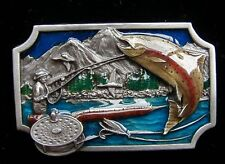 FLY FISHING BELT BUCKLE SOLID PEWTER NEW! BUCKLES