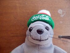 COCA COLA SEAL  w tags plush toy seal with hat and Coke bottle 1998