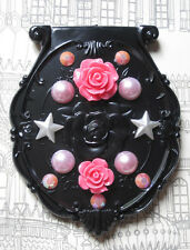 PINK STAR ROSE MAKEUP MIRROR PURSE BLACK GOTHIC KAWAII DECODEN DECO DEN