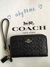 *NWT* Coach Signature Patent Leather Double Zip Phone Wallet Wristlet F54808 Blk