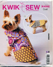 KWIK SEW SEWING PATTERN 4092 XS-XL 5 SIZES, LINED DOG COATS W/ CONTRAST COLLARS