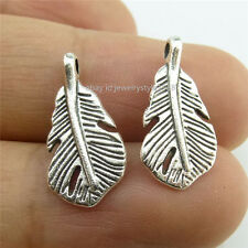 13948 70PCS Vintage Silver Alloy Mini Leaf Feather Pendant Charms Jewelry Making
