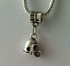 Football Helmet Sports Dangle Bead fits Silver European Charm Bracelets