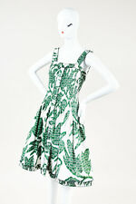 Oscar de la Renta Green White Silk Print Ruched Sleeveless A Line Dress SZ 4