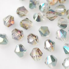 50pcs 6mm Bicone Faceted Crystal Glass Charms Loose Spacer Beads Rose Green