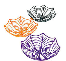 "3 plastic 11"" Spider Web Baskets SPIDERWEB bowls Halloween Party Favor DECOR"