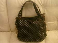 NWT BLACK RHINSTONE BLINGFABRIC LEATHER LIKE LARGE PURSE TOTE BAG GOLD HARDWARE