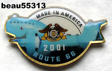 """2001 HARLEY DAVIDSON HOG ROUTE 66 """"WHALE"""" MADE IN AMERICA VEST JACKET PIN"""
