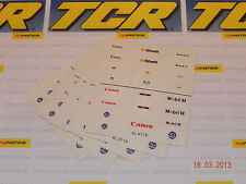 5 Sheets of TCR Stickers for F1 Cars - Also fit Tyco, AFX and all other HO cars