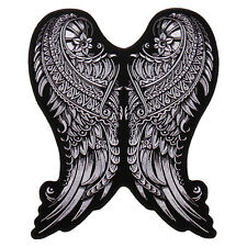 Ornate Angel Wings Ladies Jacket Vest 10 inch iron on Biker Patch