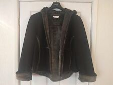 Next Women's Black Suede Fur Lined Hooded Jacket - Size UK 18