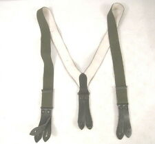 post-WWII European OD Green Canvas Leather Trouser Suspenders Set