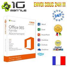 MS OFFICE 365 FAMILLE 5 PC/MAC/TABLETTE CODE ABONNEMENT 6 MOIS