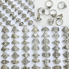 50Pcs Vintage Tibet Flower Silver Rings Wholesale Mixed Lots Costume Jewelry