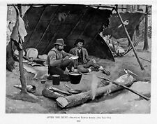 HUNTERS SPORTSMEN AFTER THE HUNT CAMP AX PROVISIONS LEAN TO SHELTER EATING MEAL