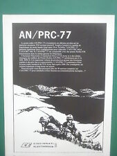 3/1978 PUB CINCINNATI ELECTRONICS POSTE RADIO AN / PRC-77 US ARMY FRENCH AD