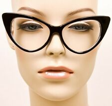 SEXY Cat Eye Glossy Black Pin Up Fashion Clear Eye Glasses Hot Diva Frames 1377