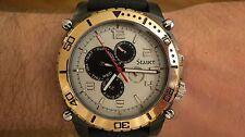Stauer Men's Multifunction Watch Wristwatch Silver Dial Black Strap 21136