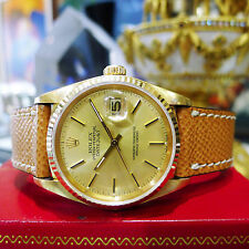 Mens ROLEX Datejust Solid 18k Yellow Gold with PAPERS 16018 c. 1985 unpolished!