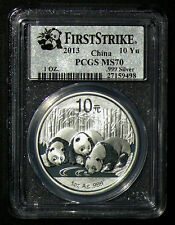 2013 China Panda 1oz 10 Yuan Silver Coin PCGS MS 70: FIRST STRIKE
